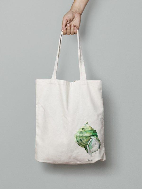 Tote bag Caracol verde, diseño Salix
