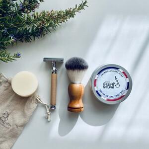 cuchilla afeitado reutilizable + brocha + jabón en lata para afeitado + jabón sólido para barba