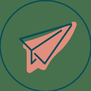 ilustración de avión de papel rosa con un circulo verde oscuro alrededor
