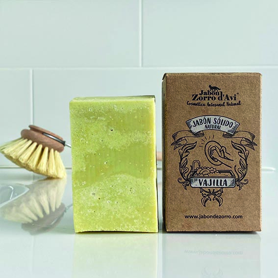 Jabón natural sólido para vajilla sin plástico