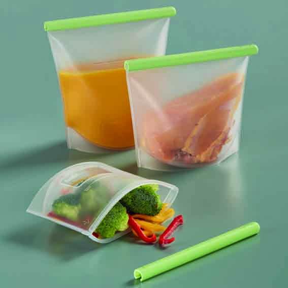 Kit 3 bolsas reutilizables de silicona