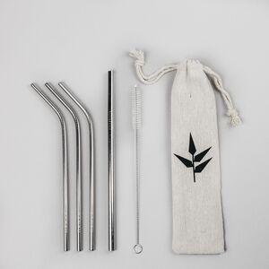 Set pajitas acero inoxidable con cepillo limpiador y bolsa - Banbu