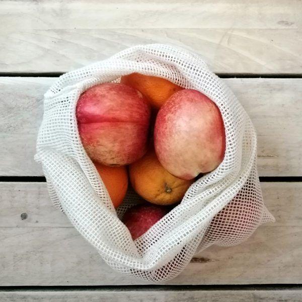 Bolsa algodón orgánico malla con fruta - Dignidart