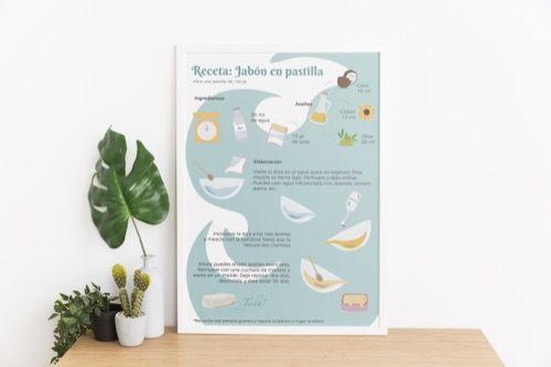 Ilustración receta de pastilla de Jabón - Proyecto Zero Waste