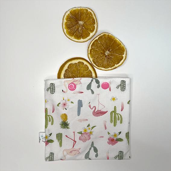 Rodajas de naranja en bolsa snack estampado tela flamencos - The Zappy Penguin