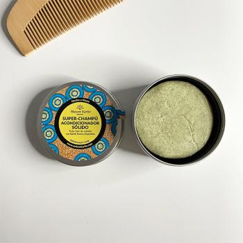 Envase en lata abierto de champú-acondicionador (2 en 1)