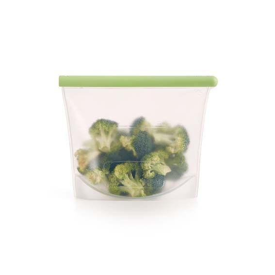 Bolsa de silicona con brócoli en su interior
