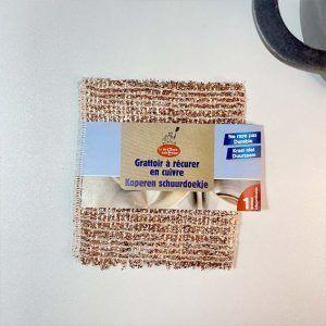Estropajo de cobre cuadrado con packaging en banda de cartón