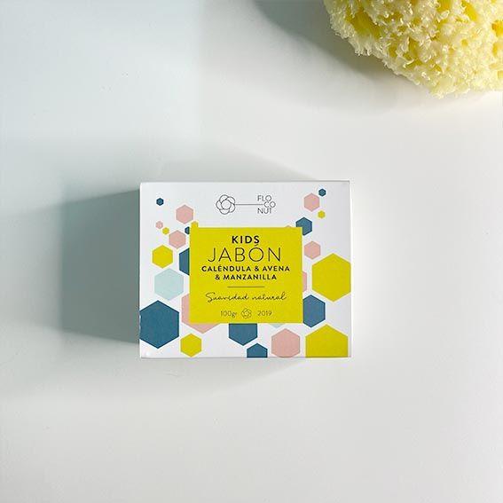 Jabón kids de Floconut con caléndula, avena y manzanilla de Floconut y esponja natural