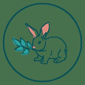 Icono conejo comiendo ramita de hojas