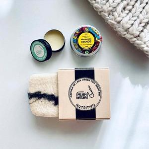 Bálsamo de manos, labial nutritivo, jabón sólido nutritivo en esponja de lana, con leche de burra