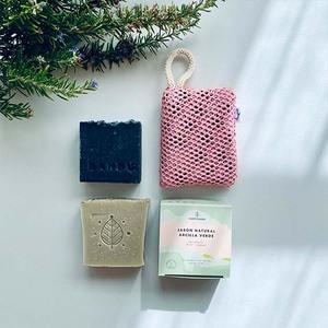 jabón sólido carbón activo, jabón arcilla verde, esponja algodón orgánico